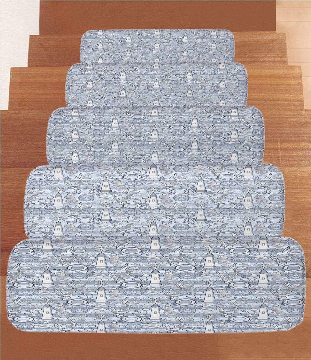 Fantasy House Decor - Peldaños de forro polar para escalera, tapetes para escalera, caracol con una casa de conchas en tablero de madera bajo el cielo dramático nublado, (juego de 5) 22
