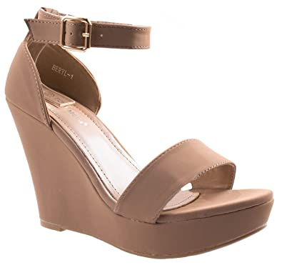 1744893935b Image Unavailable. Image not available for. Color  Top Moda Women s Beryl-1  Round Open Toe One Strap Heel Sandal ...