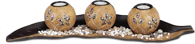 Pierres d/écoratives bougeoirs Relaxdays Set 3 photophores Feuille en Bois Marron D/écoration de Table