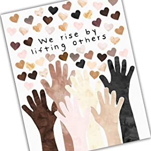 """Diversity Art for Kids We Rise By Lifting Others Different Races Kids of Multiple Ethnicities Promote Unity Celebrate Diversity UNFRAMED Poster 5x7"""" 8x10"""" 11x14"""" 16x20"""" 24x36"""""""