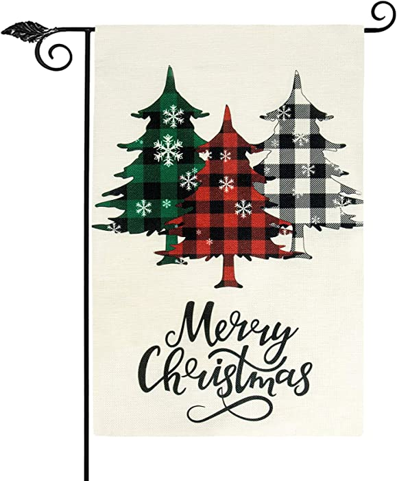Unves Merry Christmas Garden Flag, Buffalo Plaid Christmas Decorations Rustic Farmhouse Winter Holiday Garden Flags Double Sided for House Outdoor Decor 12.5 x 18 Inch