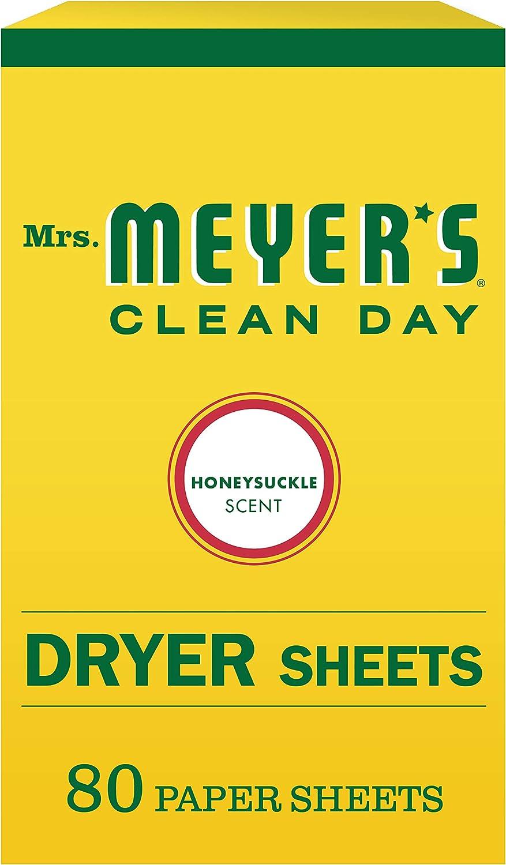 Mrs. Meyer's Clean Day Dryer Sheets, Honeysuckle, 80 ct