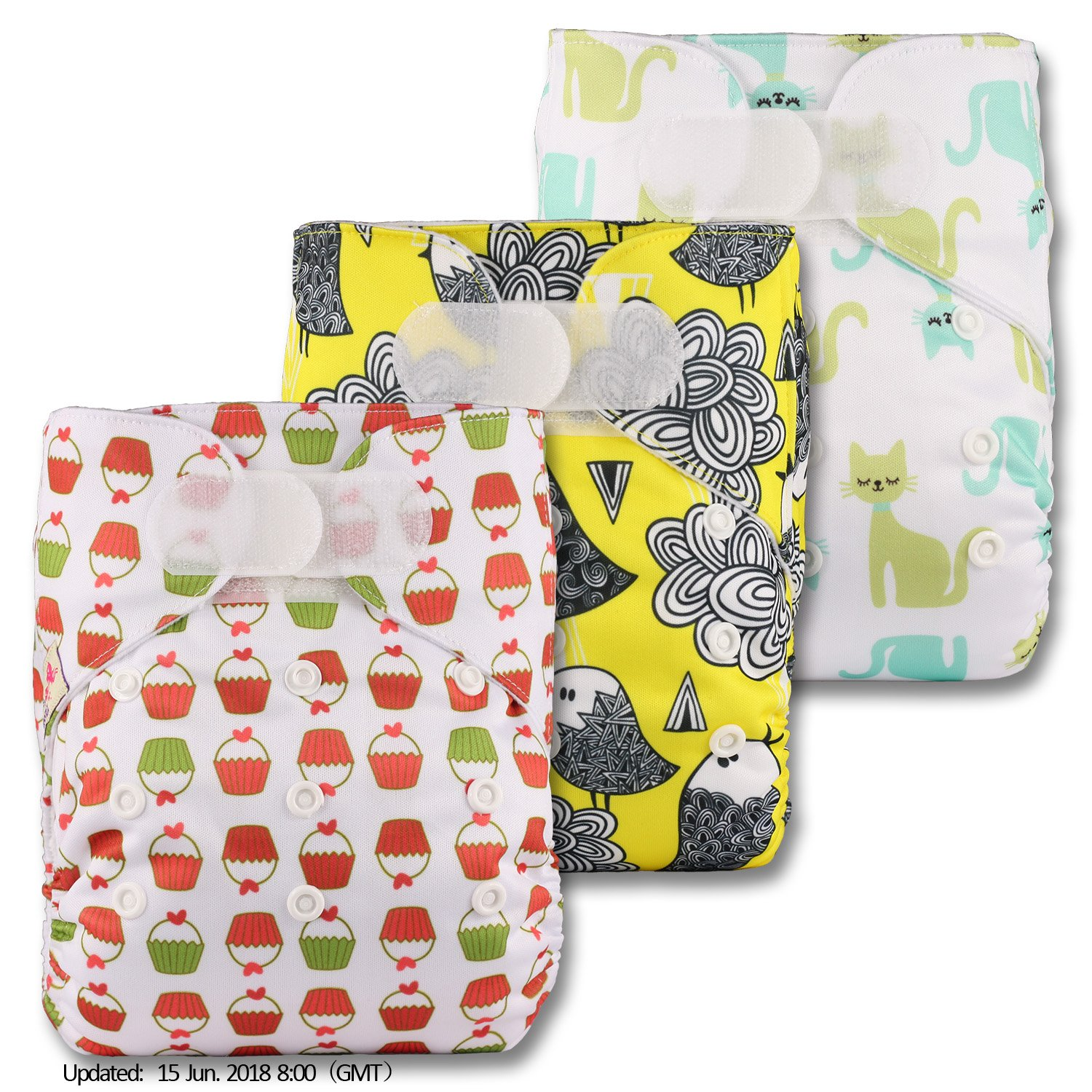 Patterns 324 Set of 3 Without Insert Fastener: Hook-Loop Reusable Pocket Cloth Nappy Littles /& Bloomz