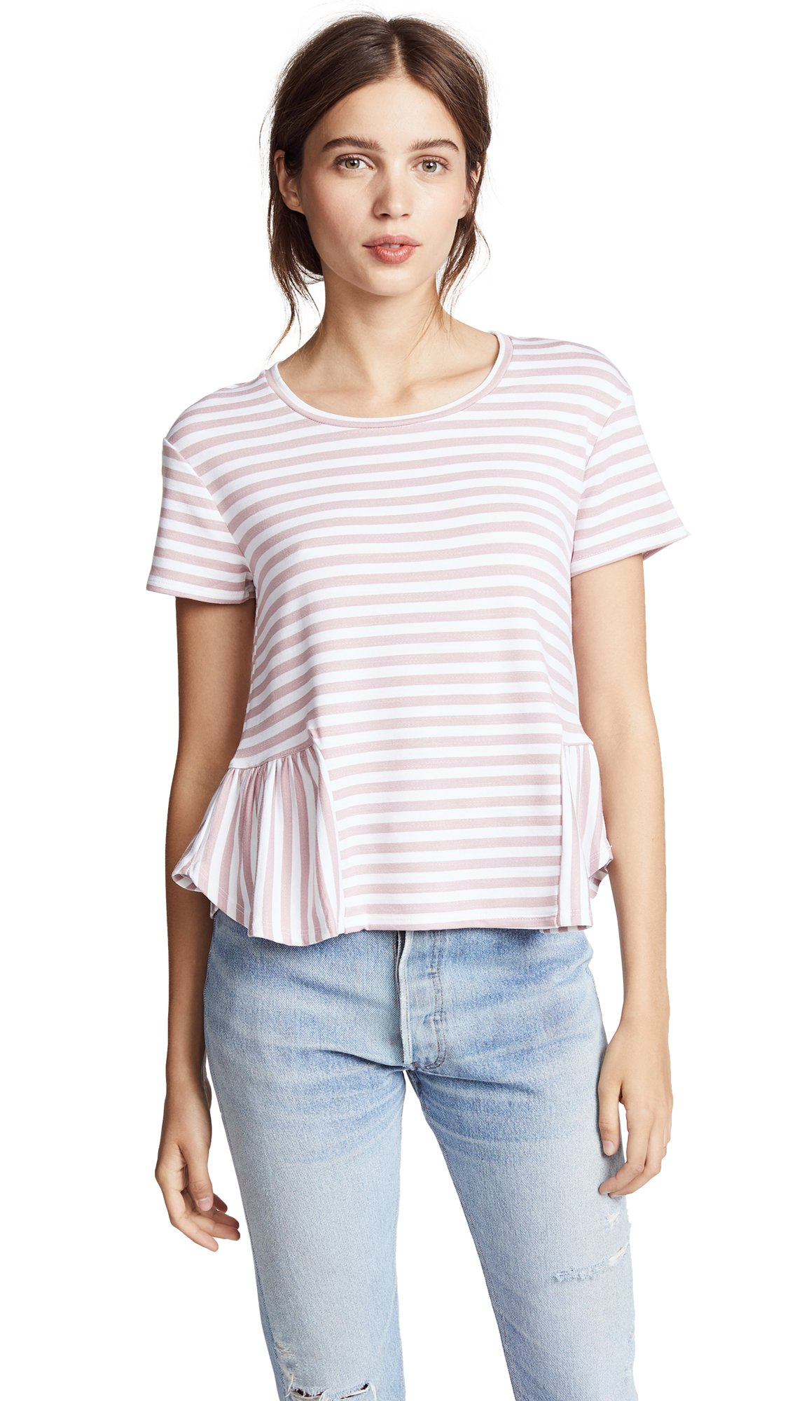 Three Dots Women's Cape Cod Stripe Loose Short Top, Rose/White, Extra Small
