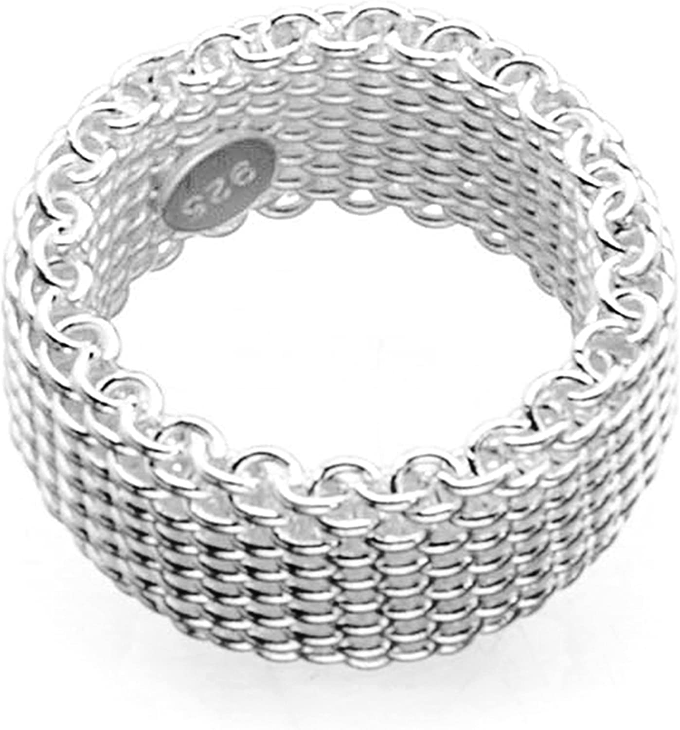 sephla 925 Sterling Silver Plated Wave Mesh Ring