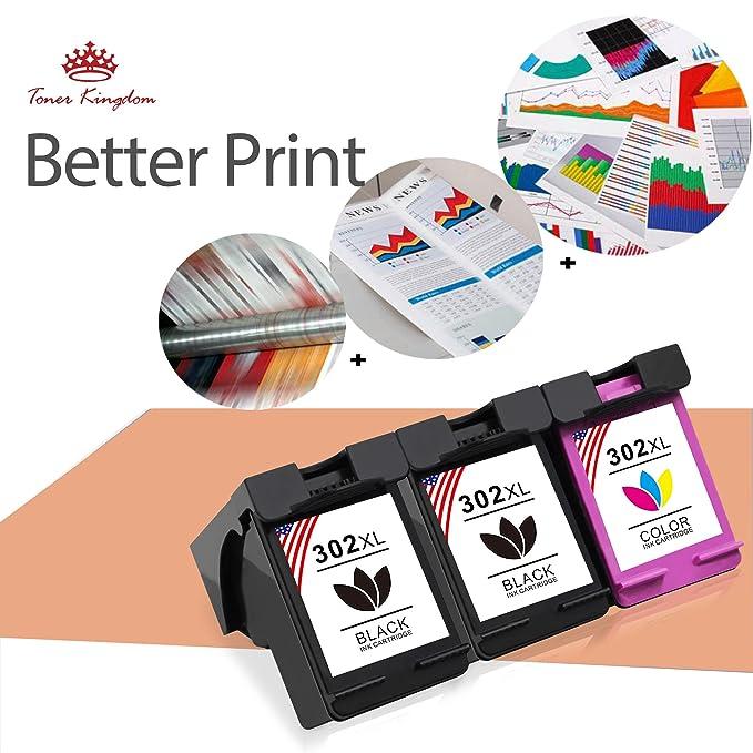Toner Kingdom 3 Paquete Por HP 302 XL Cartuchos de tinta Compatible ...