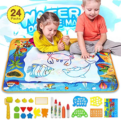 Amazon Com Mozooson Doodle Mat Drawing Toy For Kids Magic Water Doodle Mat 40x28 Inch With 23 Accessories Coloring Mat Cognitive Toys For Toddlers Boys Girls Age Of 3 4 5 6 7