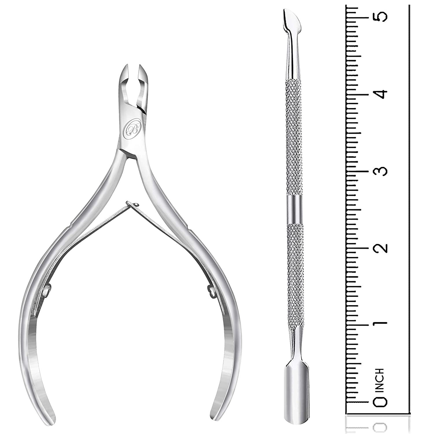 Cuticle Nipper with Cuticle Pusher- Professional Grade Stainless Steel Cuticle Remover and Cutter - Durable Manicure and Pedicure Tool - Beauty Tool Perfect for Fingernails and Toenails (Silver): Beauty
