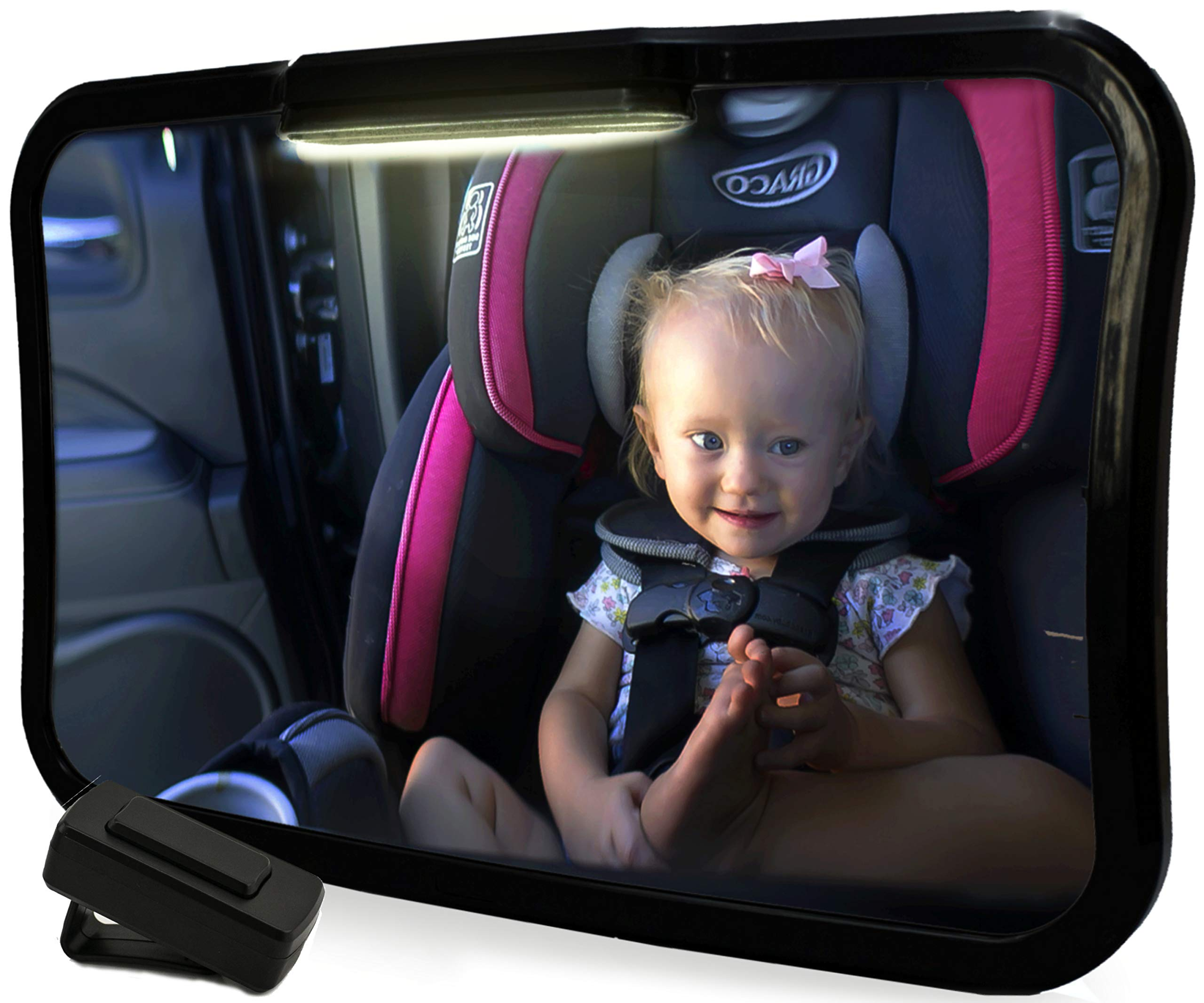 Baby Travel Backseat Mirror with Light | Large Rear Facing Mirror for Infant Carseat | FREE Window Sunshades | Wide View Angle with 360-Degree Pivot | Remote-Activated Light System| Shatterproof Glass by KiddKare