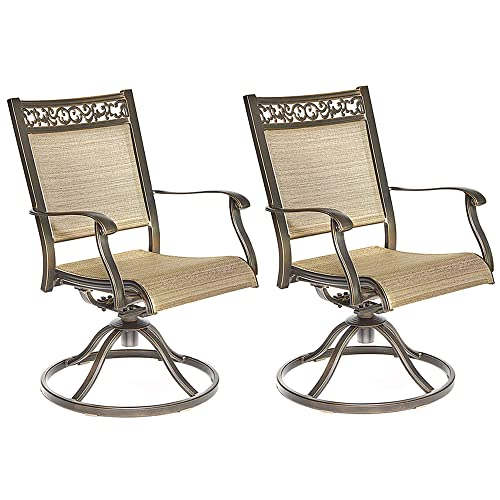 Dali Swivel Rocker Chair, Cast Aluminum All-Weather Comfort Club Arm Patio Dining Chair 2 Pc
