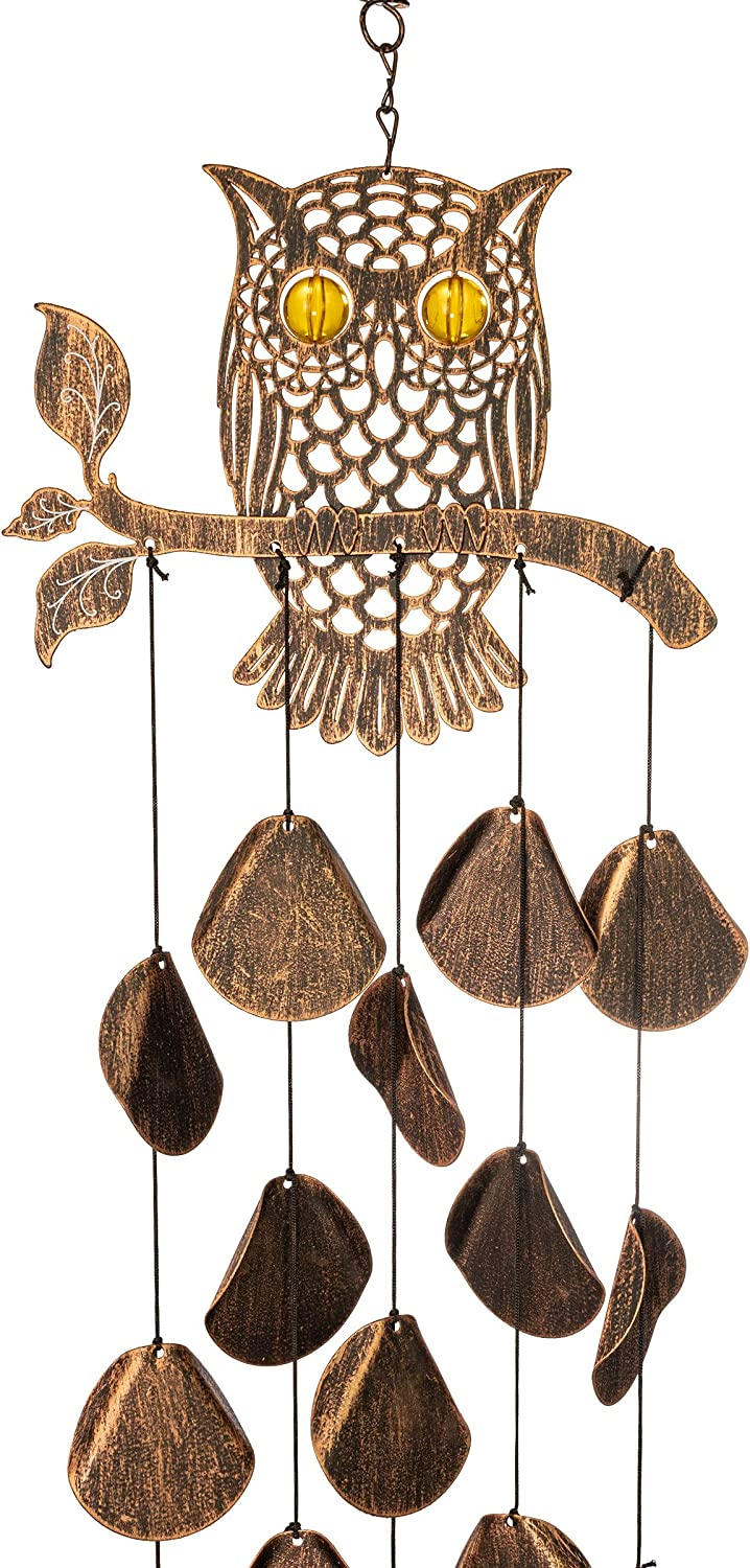 VP Home Tribal Owl Outdoor Garden Decor Wind Chime (Rustic Copper)