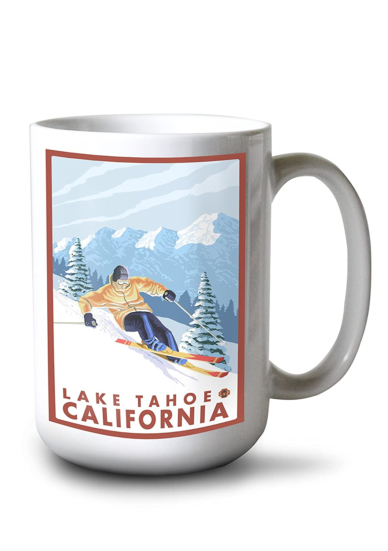 2019年春の 滑降雪スキーヤー – Mug Lake Tahoe、カリフォルニア Canvas Tote Bag 15oz LANT-14199-TT Bag B0784LJXVB 15oz Mug 15oz Mug, 有明町:fbe6cd59 --- mail.consumer1st.in