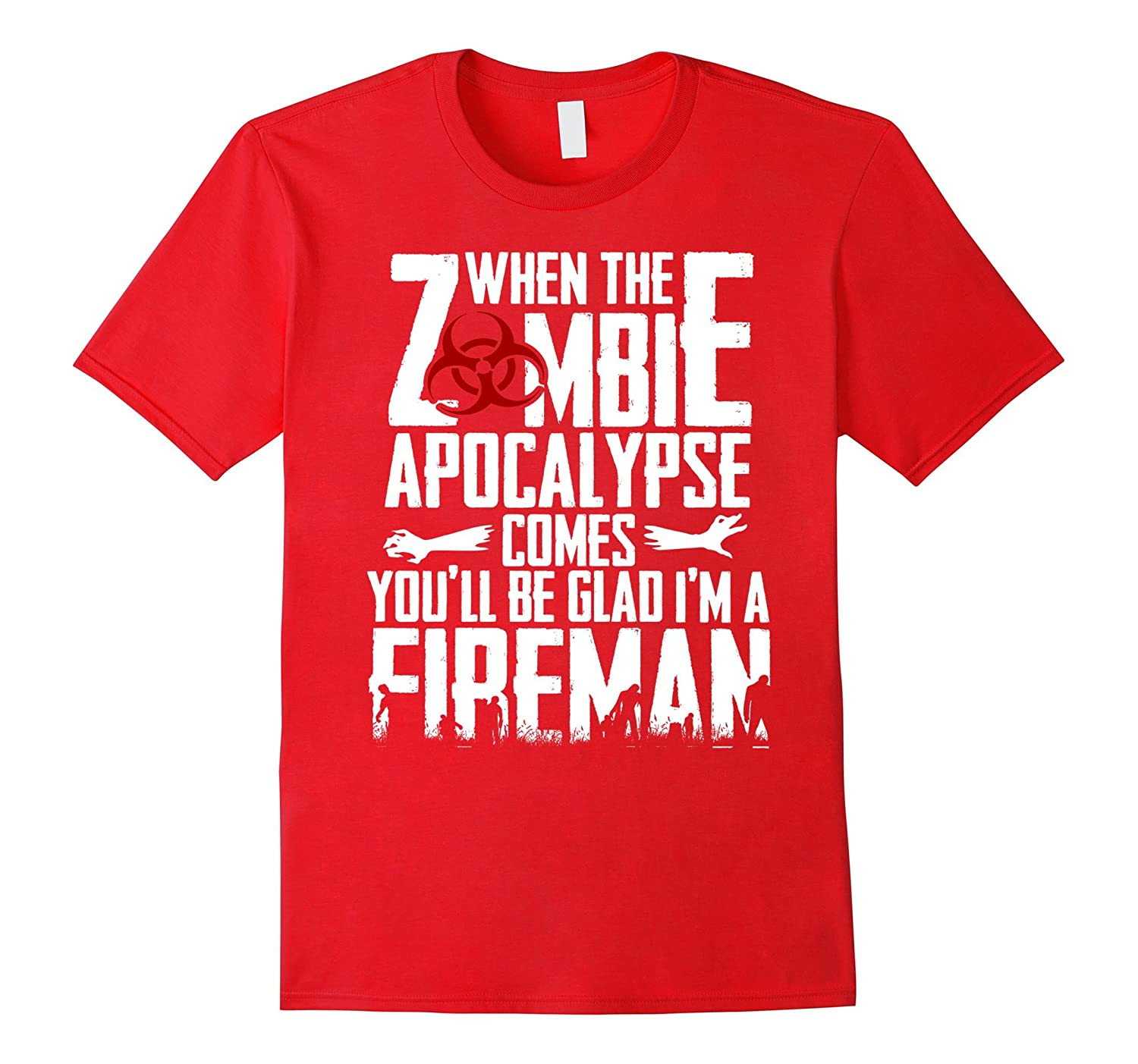 Funny Zombie Fireman Shirt, Short Sleeve 100% Cotton Tshirt-TH