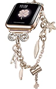 Secbolt Bling Bands Compatible with Apple Watch Bands 38mm 40mm iWatch SE Series 6/5/4/3/2/1, Women's Multi-Charm Adjustable Bracelet in Stainless Steel, Champagne Gold