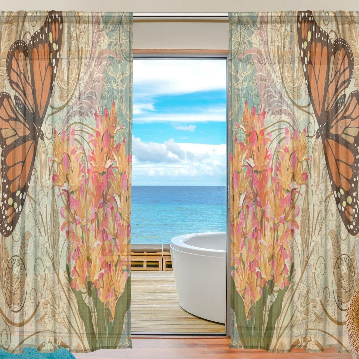 SEULIFE Window Sheer Curtain Vintage Flower Animal Butterfly Voile Curtain Drapes for Door Kitchen Living Room Bedroom 55x84 inches 2 Panels by SEULIFE