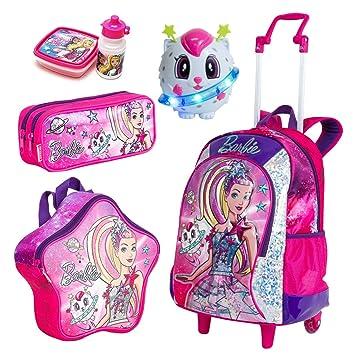 eeb575dec8 Kit Mochila Infantil Barbie Aventura nas Estrelas Sestini Lancheira Estojo  Rosa