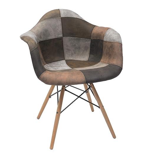 Homely - Sillón tapizado Patchwork Monet Tonos Arena, diseño ...