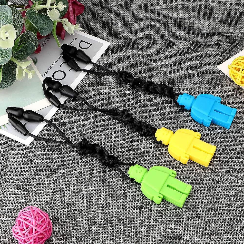 Blau, gr/ün, gelb Bei/ßring Halskette 3er Pack Silikon Roboter Bei/ßring Anh/änger Tr/öster Kauen Spielzeug Baby Bei/ßring Halskette f/ür Kinder Geschenk