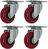 4 Pack Caster Wheels 300-Pound Swivel Lock Rigid Polyurethane Plate with Brake (3 inch Plate)