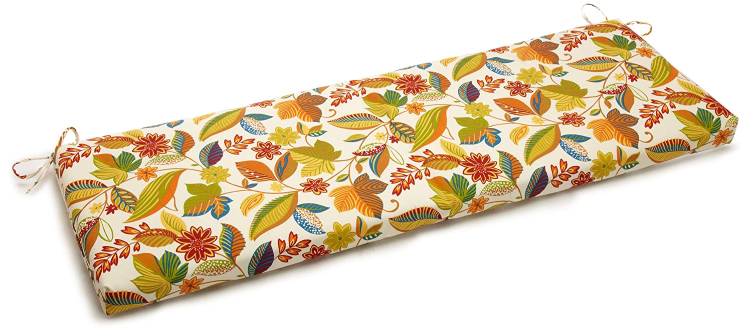 Blazing Needles Outdoor Spun Poly 19-Inch by 60-Inch by 3-1 2-Inch 3-Seater Bench Cushion, Skyworks Multi