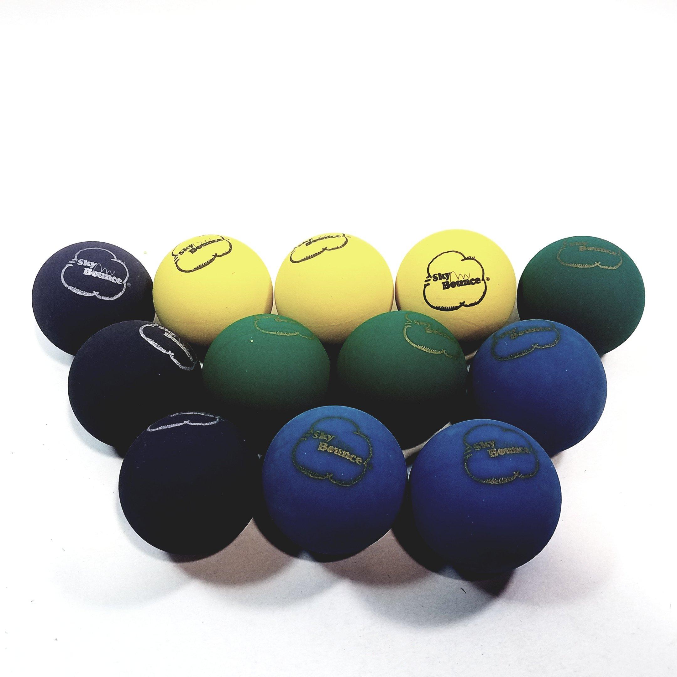 Sky Bounce Multi Color Handball Set Of 12 (1 Dozen) Balls (Blue-Green-Yellow-Black)