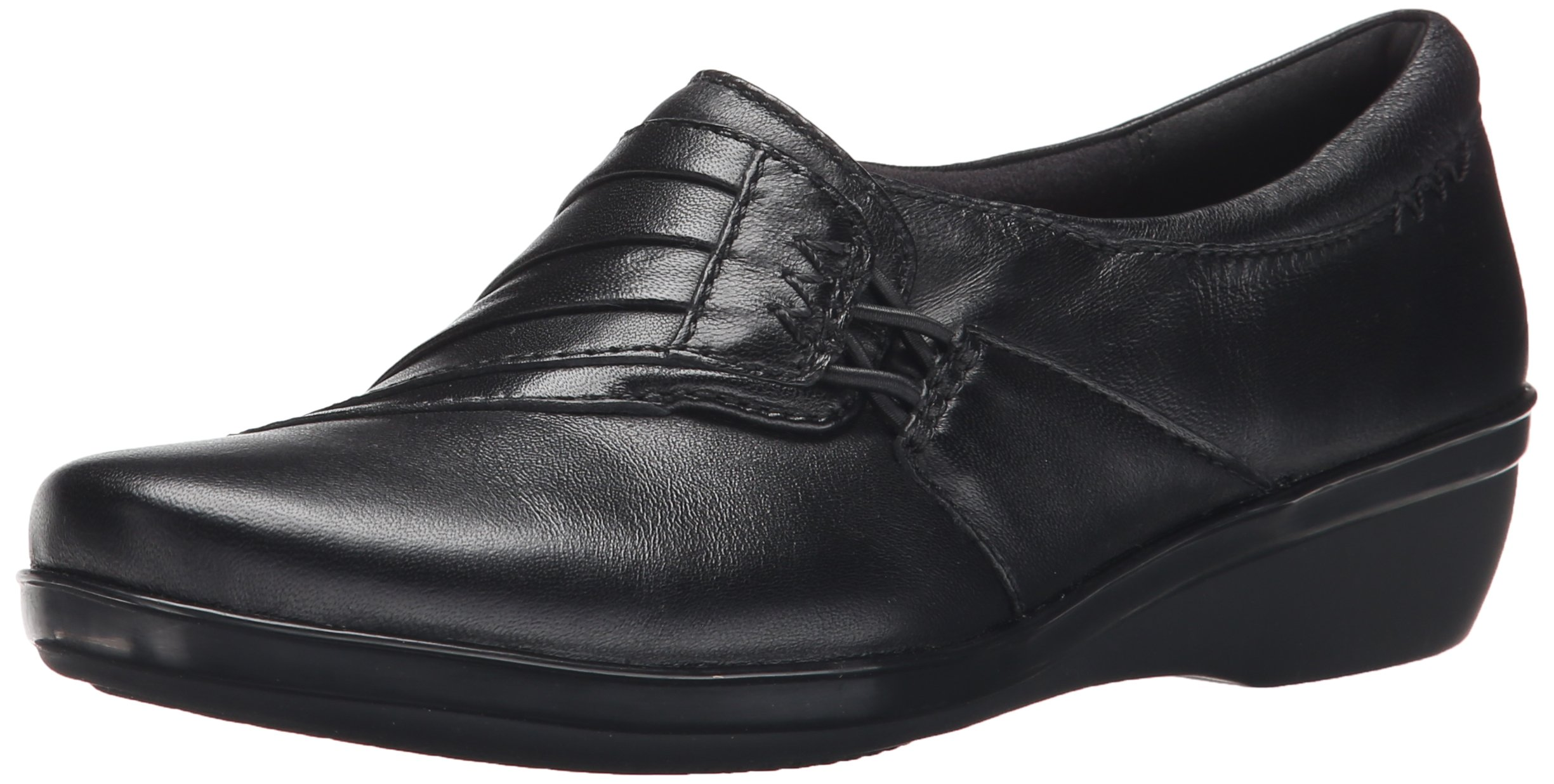 CLARKS Women's Everlay Iris Slip-on Loafer, Black Leather, 8 W US