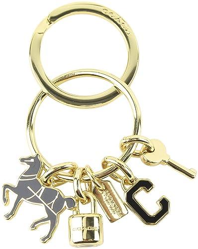 Entrenador logo clave candado de caballo oro negro llavero ...