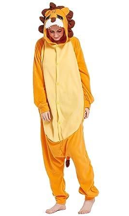 Amazon.com: Lion Adult Costume Pajamas Polar Fleece Novelty Halloween Costum:  Clothing