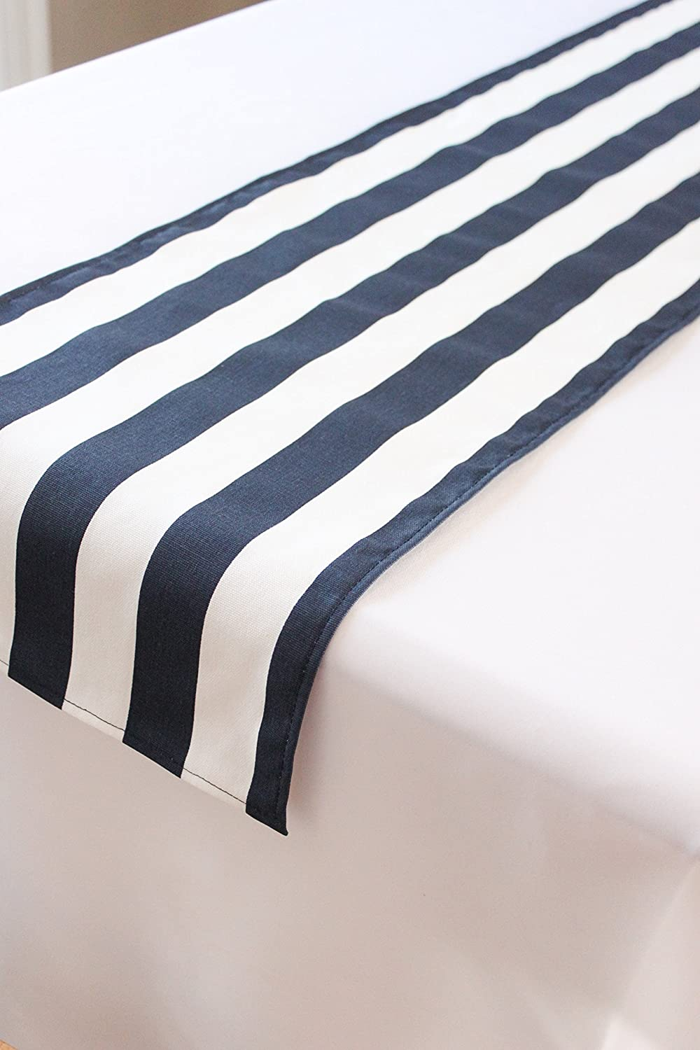 12x36 inch Navy and white striped nautical wedding baby shower table runner