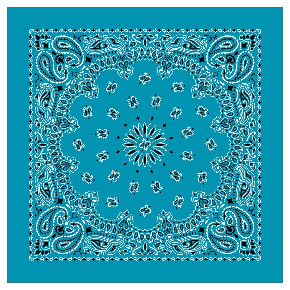 American Made Turquoise Western Paisley Bandanas - Dozen Packed 22x22