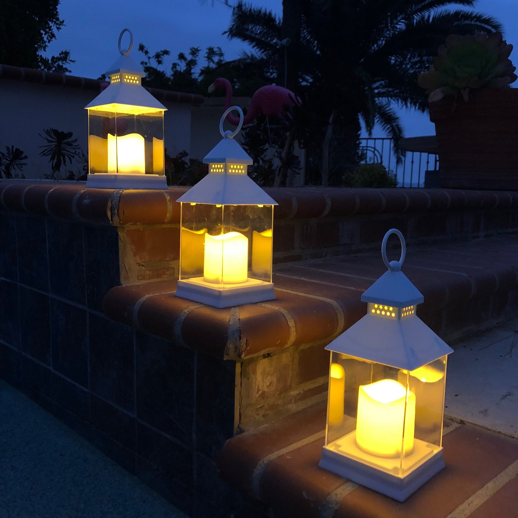 Just In Time for Spring {12 Pc SET} - 10'' Decorative Lanterns With Flameless LED Lighted Candle 5 Hr Timer Modern Look Indoor Outdoor Home, Garden, Weddings - Includes Bonus String Lights! White. by The Nifty Nook (Image #3)