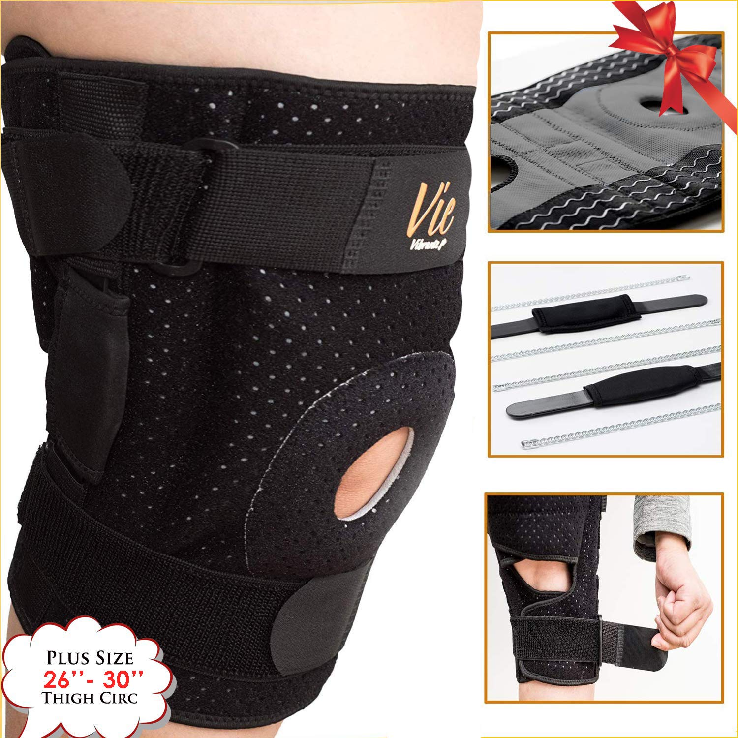Hinged Knee Brace Plus Size - Newly Engineered Knee Braces with Enhancement on Flexibility, Extra Supportive, Non-Slip and Non Bulky - Vie Vibrante (Size 3: fits 26-30'' Thigh Circumference, Black)