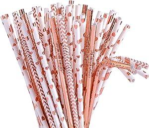 Tomnk 100pcs 8.85 Inch Flexible Bendy Rose Gold Paper Straws Biodegradable Drinking Straws- Premium Eco-Friendly & Dye-Free