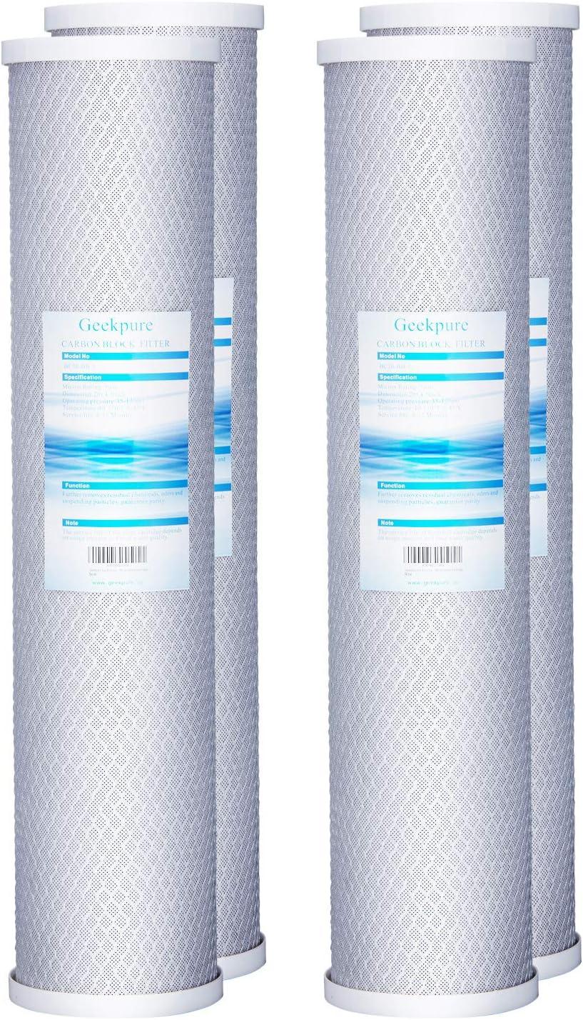 Geekpure CB-20B 4 Pack 20 X 4.5 Carbon Block Filter