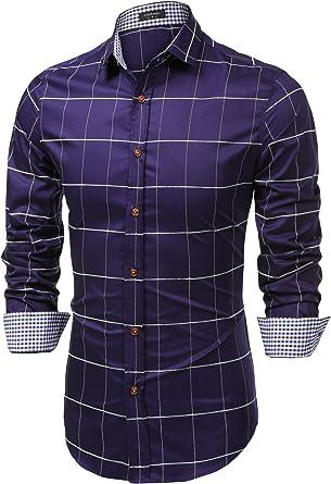 Coofandy Camisas a Cuadros Hombre de Vestir Shirt for Men Manga Larga Botones: Amazon.es: Ropa y accesorios