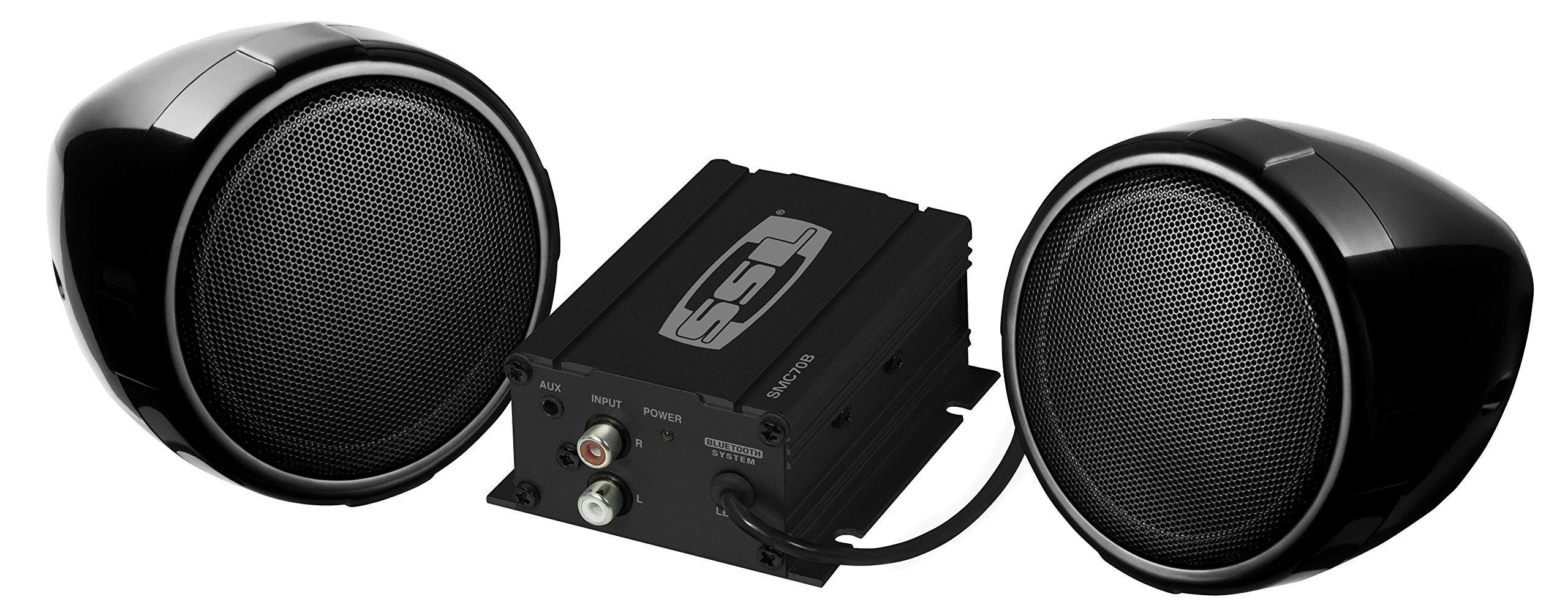 Sound Storm SMC70B Sound System, Weatherproof, Bluetooth Amplifier, 3 Inch Speakers, Inline Volume Control, ideal for Motorcycles/ATV and 12 Volt Applications