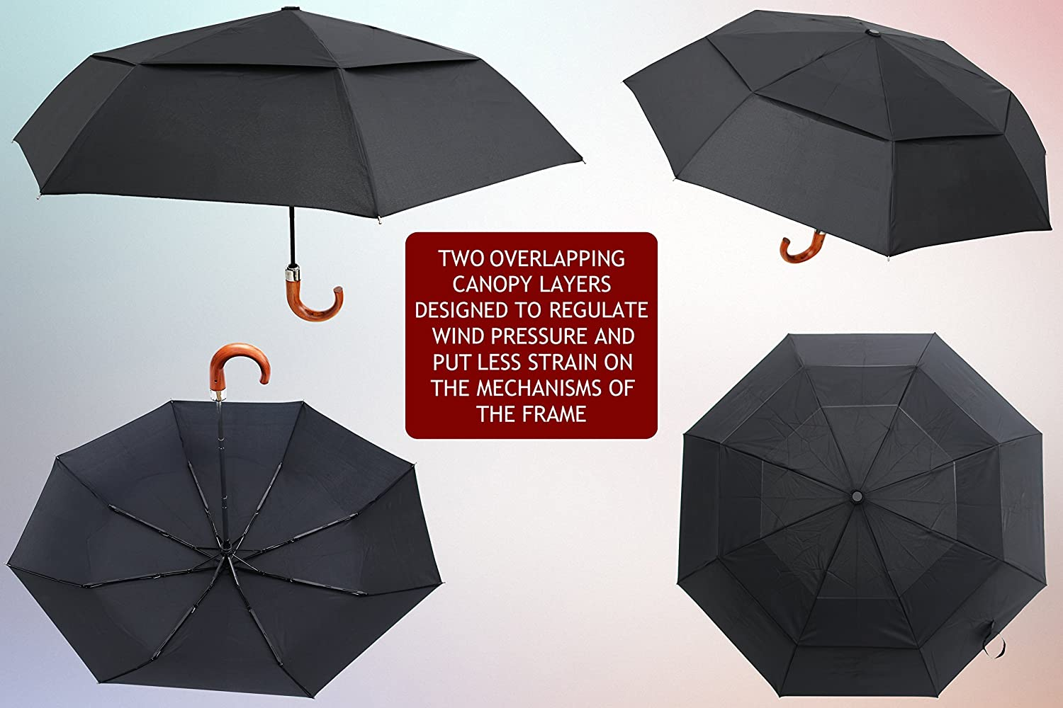 Auto open//close Luxury automatic folding travel umbrella with high grain natural wood handle /& black double vented 210T water repellent canopy windproof for men//women lightweight Classic brolly!