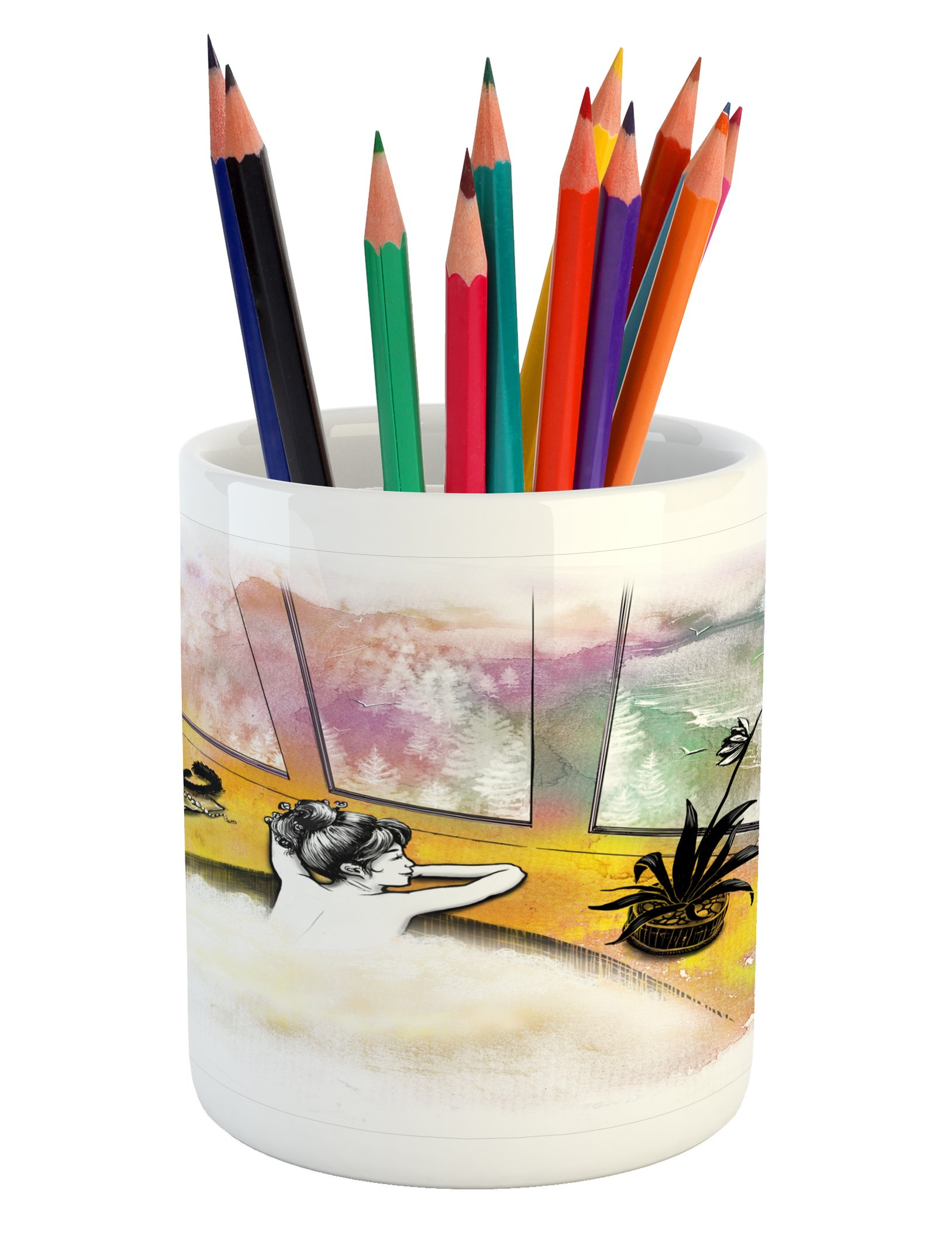 Ambesonne Modern Pencil Pen Holder, Girl with Cat Taking Bath Spa Aroma Theraphy Relaxing Peaceful Massage Illustration, Printed Ceramic Pencil Pen Holder for Desk Office Accessory, Multicolor