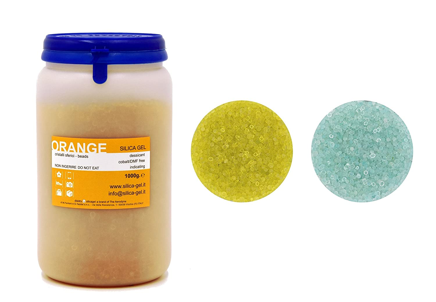 Silica Gel Orange with Indicator in Sealed Bottle 1.000 grams - MFD and Cobalt Free DISIDRY