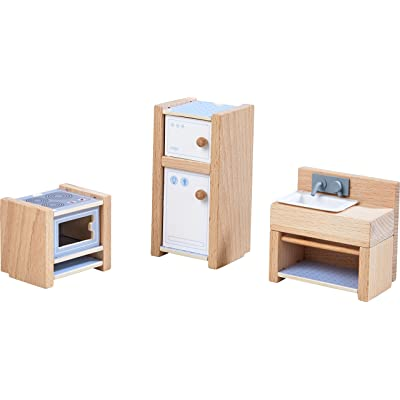 "HABA Little Friends Kitchen Room Set - Wooden Dollhouse Furniture for 4"" Bendy Dolls: Toys & Games"
