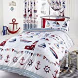 NAUTICAL BOAT SHIP LIGHTHOUSE REVERSIBLE DOUBLE DUVET COVER QUILT BEDDING SET by NAUTICAL