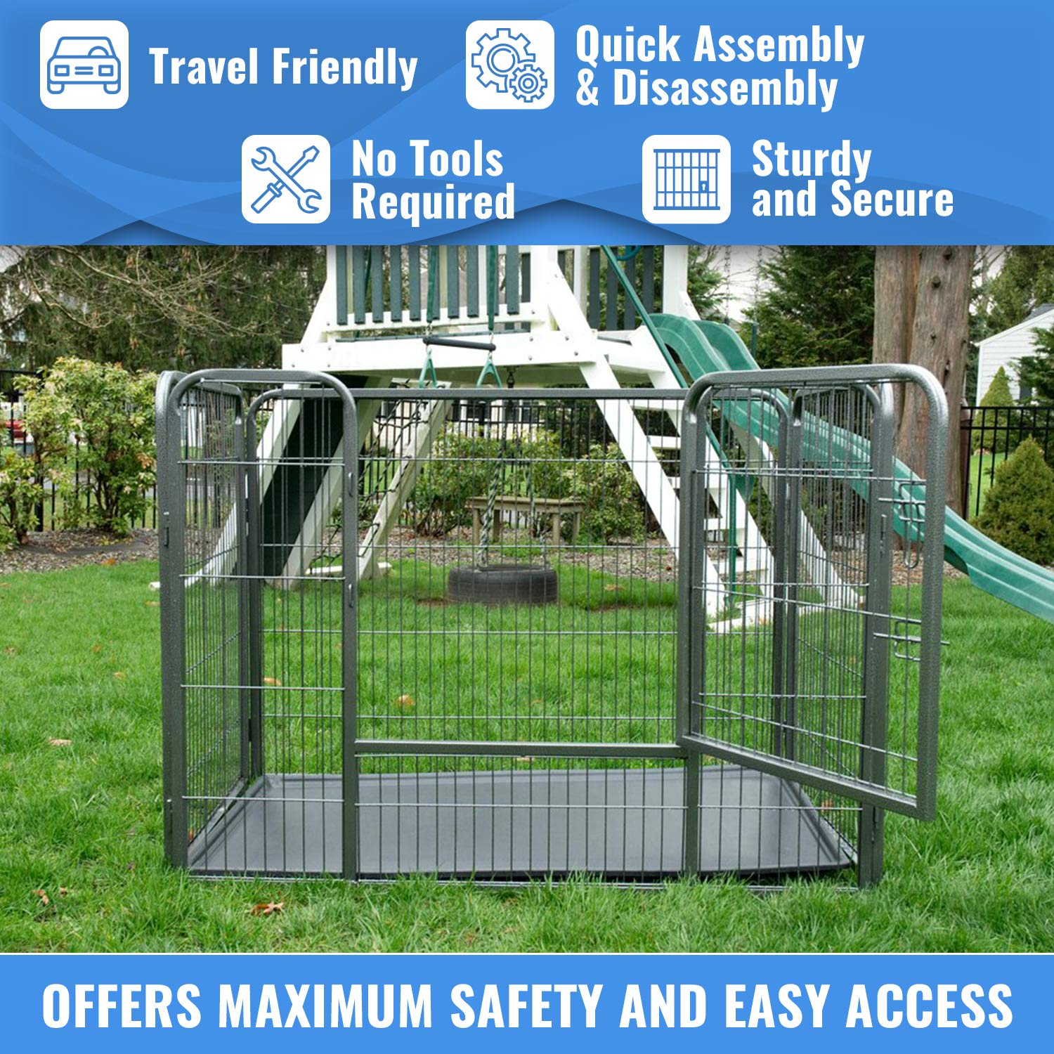 Iconic Pet Heavy Duty Rectangle Tube Pet Training Kennel Crate, 36'' Height