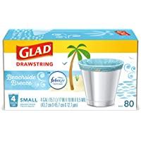 Glad OdorShield Small Drawstring Trash Bags - Febreze Beachside Breeze - 4 Gallon - 80 Count