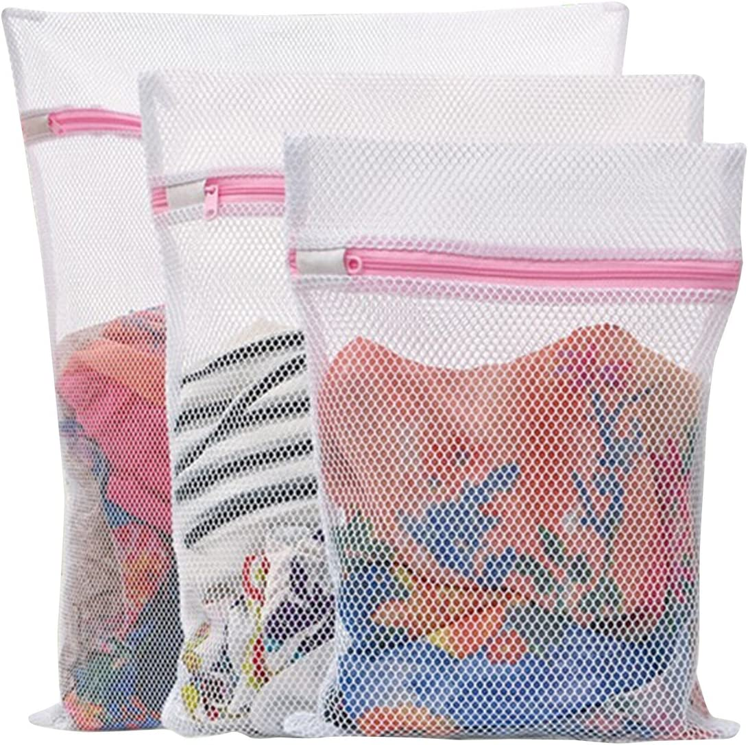 HONBAY Set of 3 Mesh Laundry Bags for Lingerie Socks Pantyhose Baby Clothes and Stuffed Toys Used in Both Washing Machine and Dryer Coarse Mesh Zippered Bags (1 Large 1 Medium 1 Small)