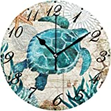 Pfrewn World Map Beach Turtle Wall Clock Silent Non Ticking Under Underwater Animal Starfish Clocks Battery Operated…