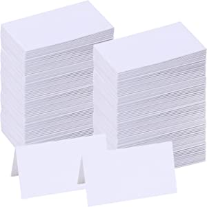 """Supla 200 Pcs Table Name Place Cards Blank Place Cards White Table Tent Cards Table Name Tags Table Card Seating Cards -3.5"""" x 2""""(LxW) for Wedding Baby Showers Christmas Dinner Party"""