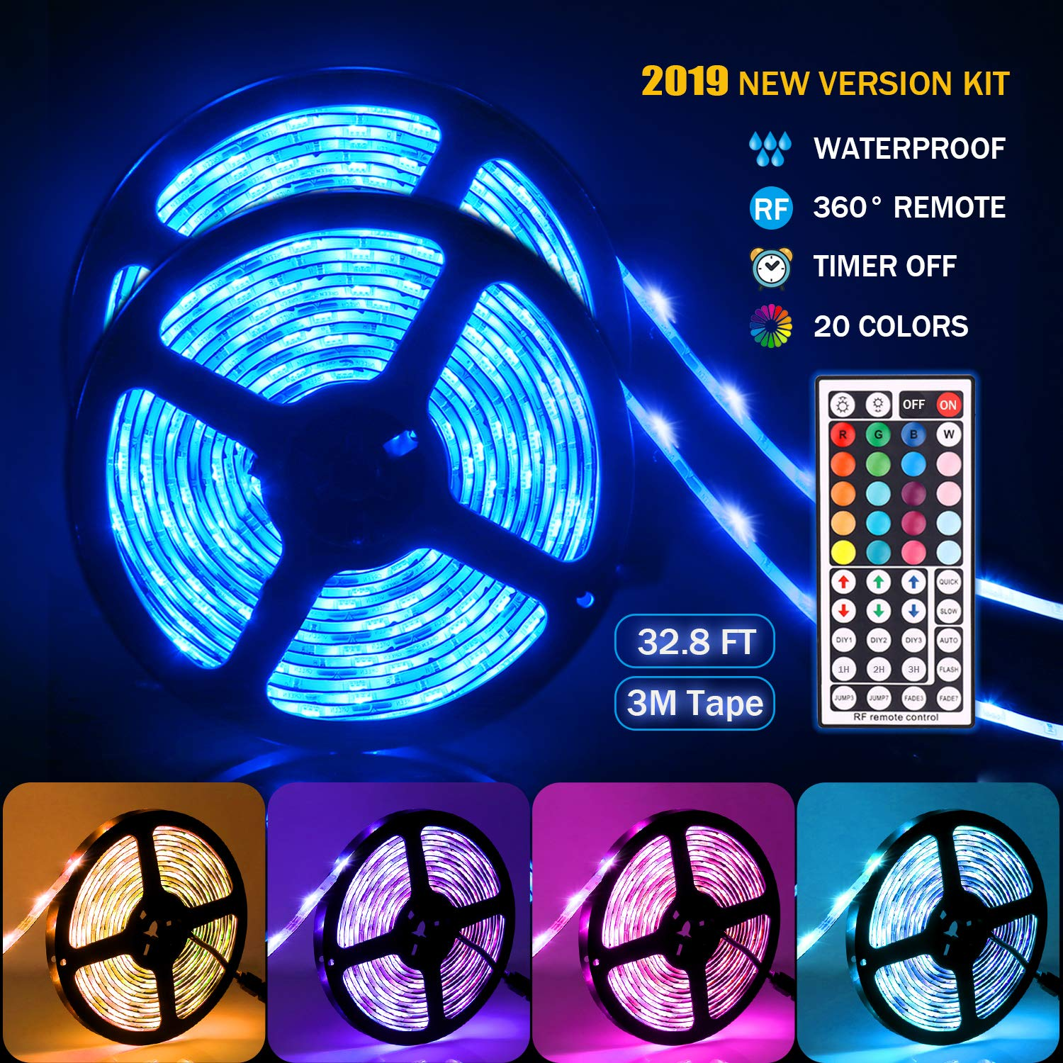 Led strip lights,Tenmiro 32.8ft Led Strip Lights With 44key RF Remote Controller,Waterproof Color Changing RGB SMD 5050 300 LEDs Rope Lights, DC 12V5A Power Safety For Home Outdoor Lighting Decoration