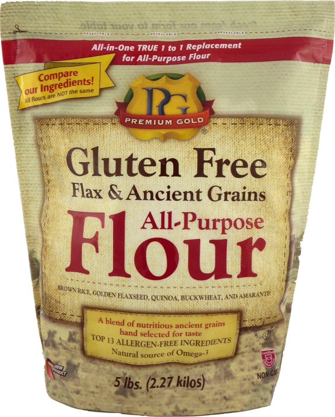Premium Gold Gluten Free Flax & Ancient Grains All Purpose Flour, 5 Pound by Premium Gold