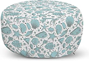 Lunarable Nautical Ottoman Pouf, Hand Drawn Maritime Theme Sketch with Fishes Sea Shells and Starfishes, Decorative Soft Foot Rest with Removable Cover Living Room and Bedroom, Aqua Blue