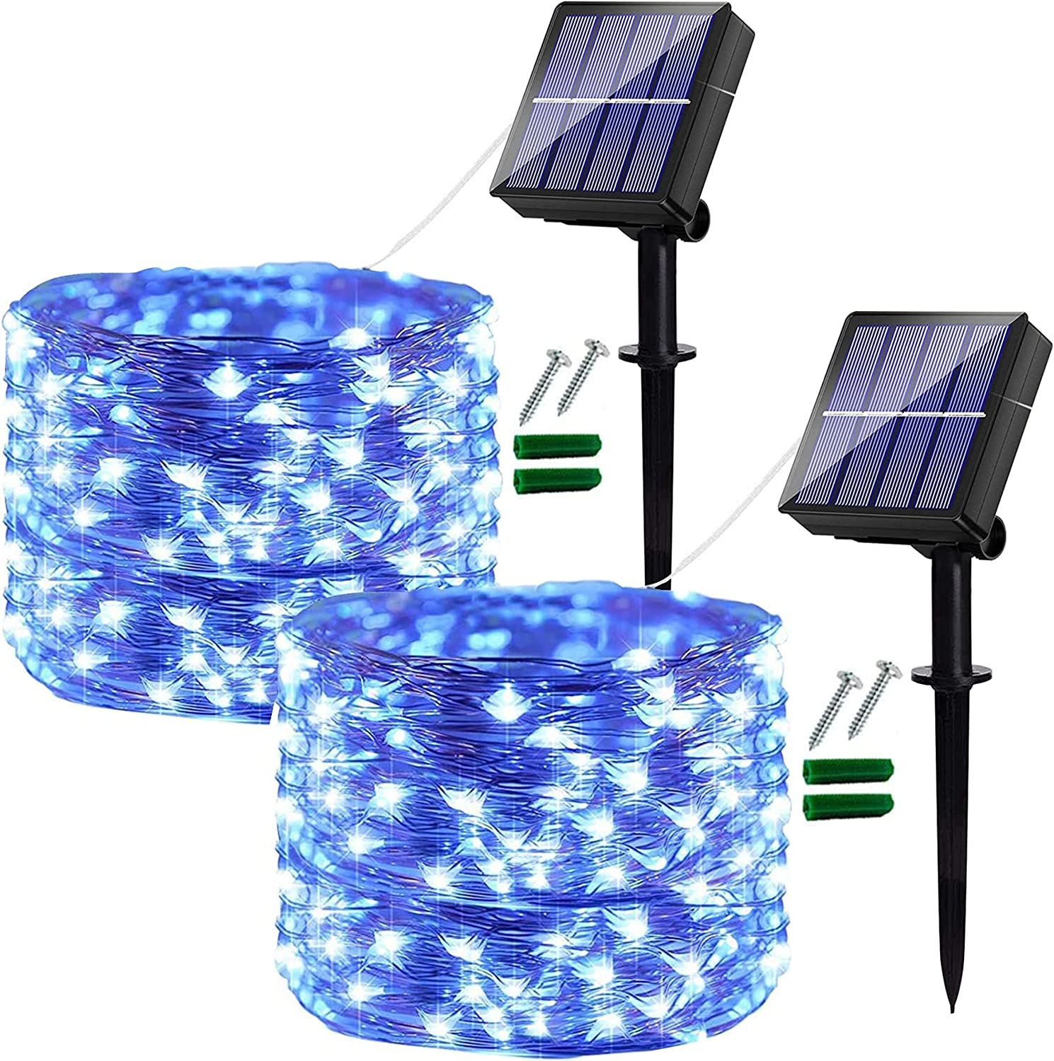 [2 Pack] Solar Fairy Lights Outdoor, 120 LED Solar Garden Lights Outdoor Waterproof , 14M/46Ft 8 Modes Copper Wire Decorative Solar String Lights for Garden, Patio, Yard, Party, Wedding (Blue)